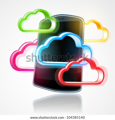 Vector mobile cloud technology and computing concept illustration