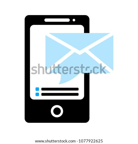 vector Mobile icon with text message - sms, communication icon