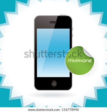 Vector Mobile Phone, Iphon, Ipade, Ipode style gadget Illustration, Icons, Sign, Badge With Sticker