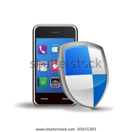 vector mobile phone security shield
