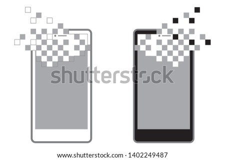 vector mobile phone,smart phone black and white