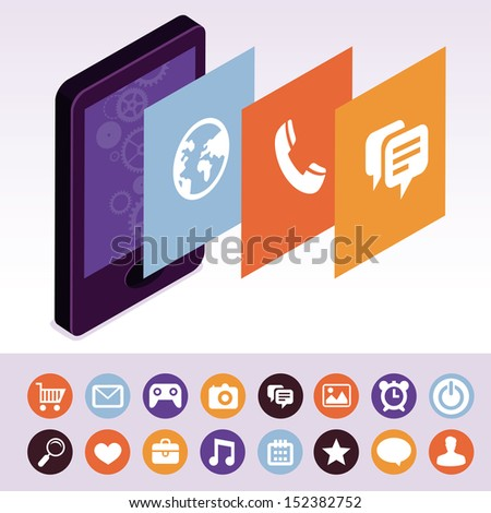 Vector mobile phone with interface screens - infographic design elements in flat retro style