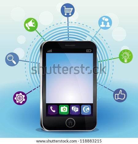 Vector mobile phone with touchscreen and social media icons - technology concept