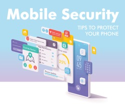 Vector mobile security and data protection concept. Smartphone with bank application login page, account dashboard, bank card management page, payment, deposits, notification and other features
