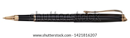 Vector. Mock Up. Black ballpoint pen with a cap. Vector illustration isolated on white background.