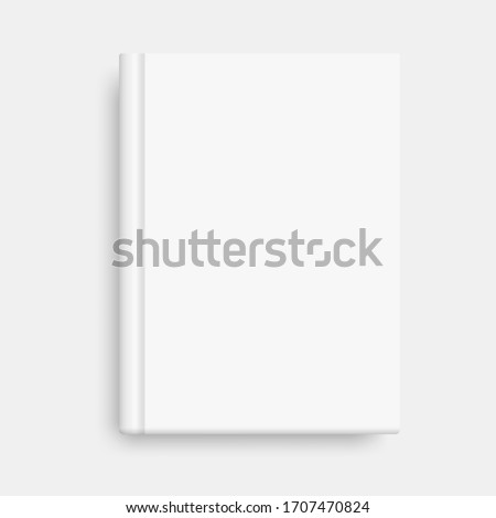 Vector mock up of book cover. Closed vertical book, magazine or notebook mockup on white background. Realistic 3d illustration. Blank book cover vector illustration template