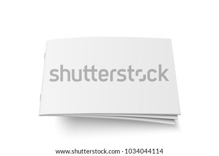 Vector mock up of book or magazine white blank cover isolated. Flying closed horizontal magazine, brochure, booklet, copybook or notebook template on white background. 3d illustration.