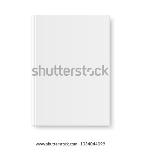 Vector mock up of book white blank cover isolated. Closed vertical book, magazine or notebook mockup on white background. 3d illustration.