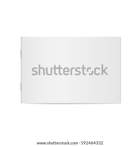 Shutterstock Vector mock up of booklet isolated. Closed horizontal magazine, brochure or notebook template on white background. 3d illustration.
