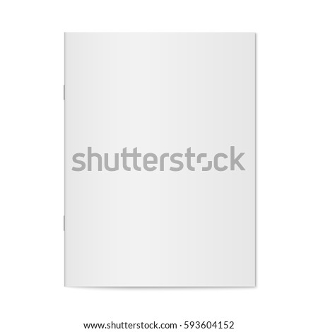 Vector mock up of booklet isolated. Closed vertical magazine, brochure or notebook template on white background. 3d illustration for your design