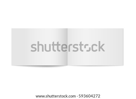 Vector mock up of booklet isolated. Opened horizontal magazine, brochure or notebook template on white background. 3d illustration for your design