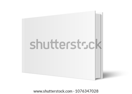 Vector mock up of standing book with white blank cover isolated. Closed horizontal hardcover book, catalog or magazine mockup on white background. 3d illustration. Diminishing perspective.