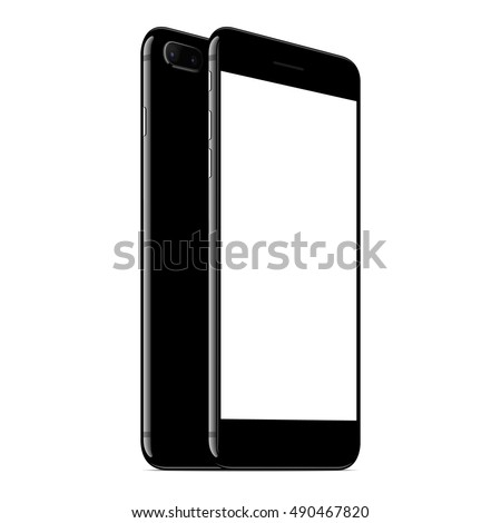vector mock up phone front and back perspective view on white background, new modern smartphone with dual camera