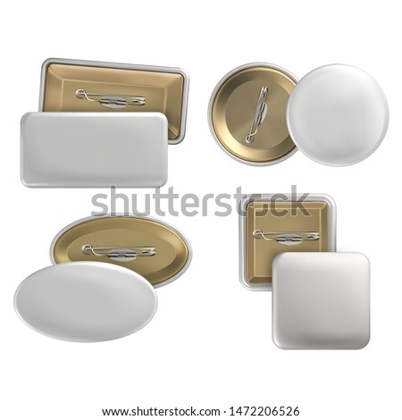 Vector. Mock Up. Set badge pin brooch of round, rectangular, oval, square shapes in white color. Realistic illustration isolated on white background.