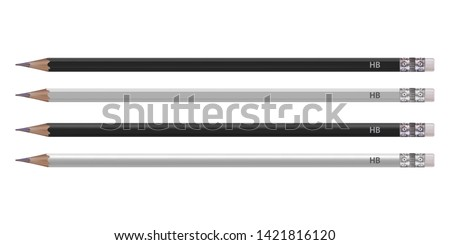 Vector. Mock Up. Set Pencil black and white color. Round and faceted shape. Realistic illustration isolated on white background.