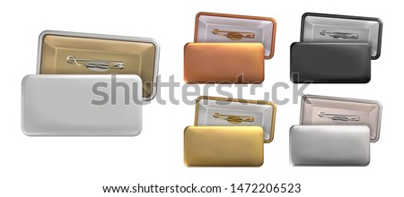 Vector. Mock Up. Set rectangular badge pin brooch of white, black, gold, silver, copper colors. Realistic illustration isolated on white background.