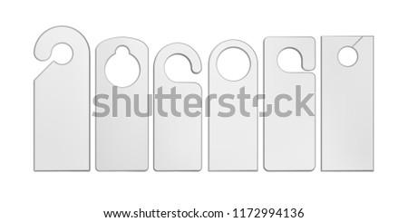 Vector. Mock Up. White Door Hengers Stock fotó ©