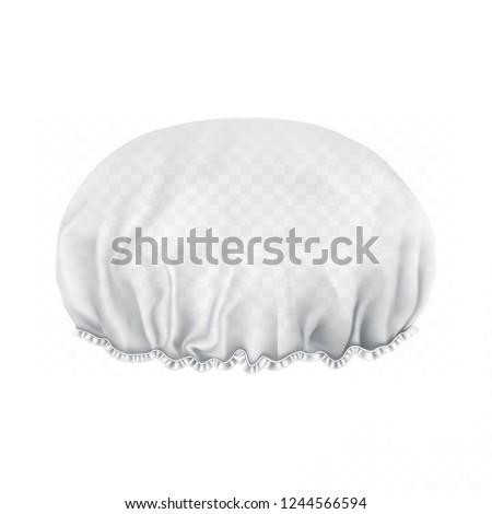 Vector. Mock Up. White transparent Shower cap. Front side.