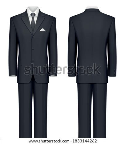 Vector mockup of classic black formal suit. Stock fotó ©