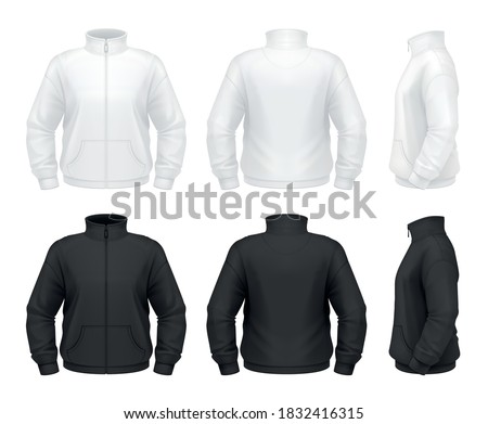 Vector mockup of classic men's fleece jacket. ストックフォト ©