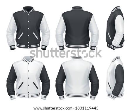 Vector mockup of classic varsity jacket. Сток-фото ©