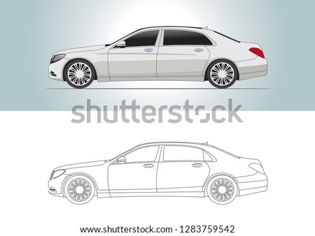 vector model of sedan car. Mercedes s600.