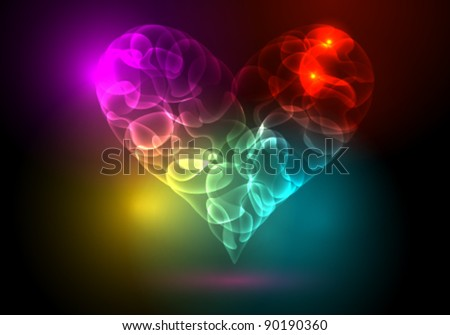 Vector modern abstract colorful heart illustration made of neon light