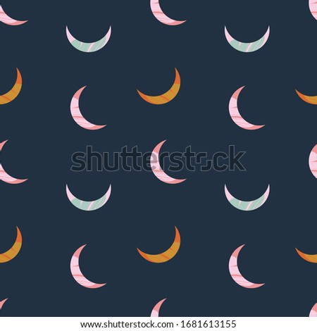Vector modern abstract Moon crescent set. Ornamental cosmic design. Space seamless pattern. stock photo
