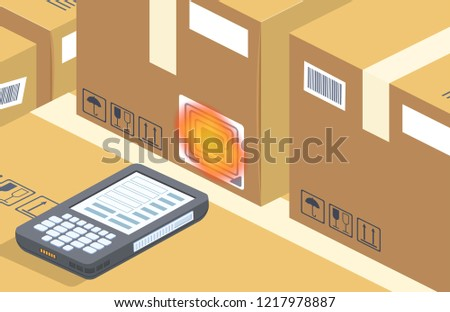 Vector modern barcode scanner reads box on storage. Contemporary rfid technology for warehouse with radio waves. Cartoon electronic device for shipping, selling and distribution. Business background.