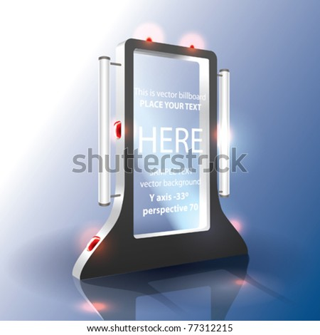 VECTOR MODERN BILLBOARD WITH TWO LAMPS - stock vector