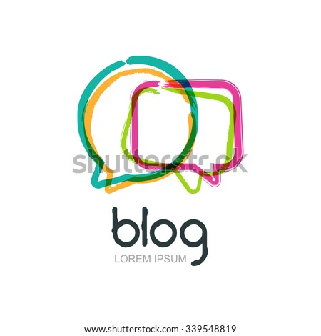 Vector modern blog icon. Abstract logo design template. Bright hand drawn speech bubble frame isolated. Watercolor background. Concept for blog design, chat, forum, social network, communication.