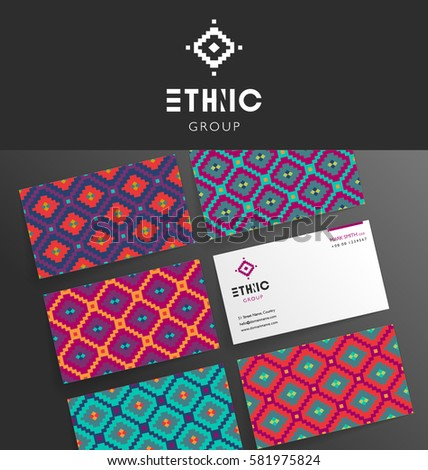 VECTOR MODERN BUSINESS CARD TEMPLATE DESIGN. Brand mock up ethnic tribal style, pattern, background.