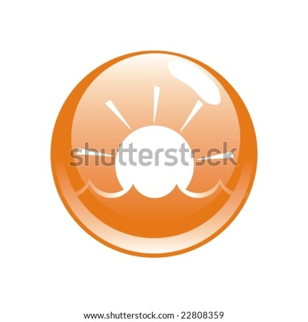 vector modern button with sun and water symbols