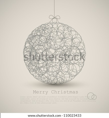 Vector modern card with abstract christmas decoration on a light background