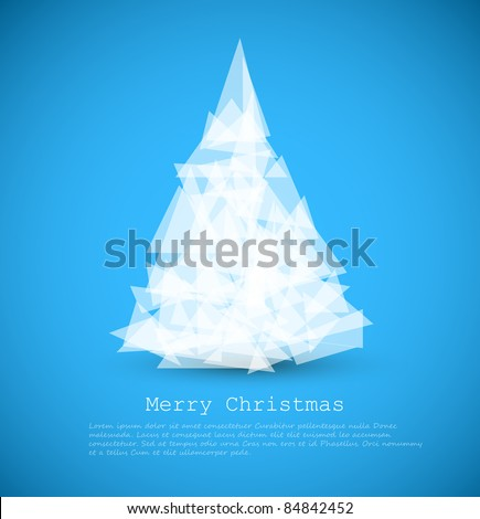 Vector modern card with abstract green christmas tree on a blue background