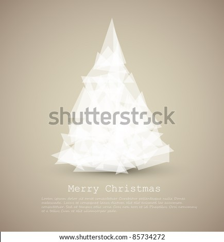 Vector modern card with abstract green christmas tree on a light background