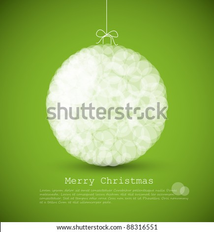 Vector modern card with abstract white christmas decoration on a green  background