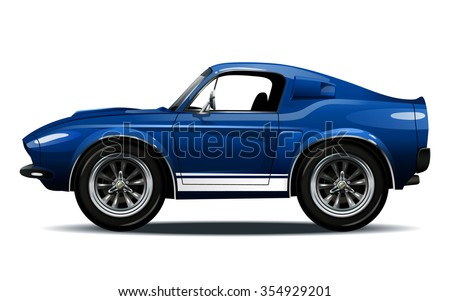Vector modern cartoon car, muscle car