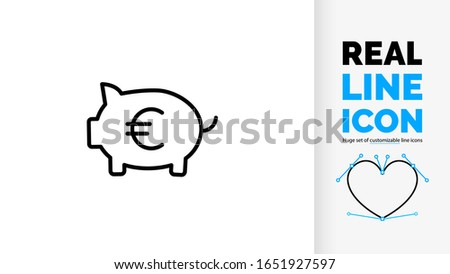 Vector modern clean real line icon of saving money and financial growth in personal savings or banking in stock market valuta of European euro EUR € currency secure in a pig or piggy bank account Foto d'archivio ©