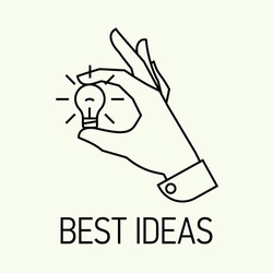 Vector modern creative concept business illustration on picking best ideas | Best business and industry ideas and solutions flat line design icon | Hand holding hand picked idea icon