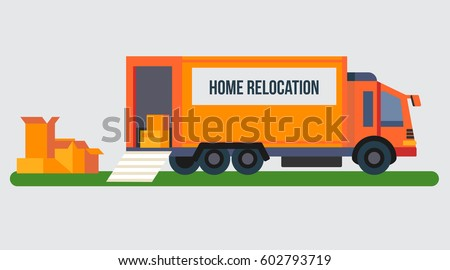 Vector modern creative concept design on relocation and moving service with moving truck and boxes. Flat design.