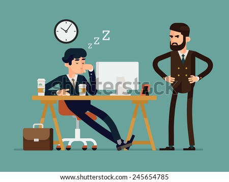 Vector modern creative flat design illustration on tired businessman at work | Exhausted office worker sleeping behind his desk while angry director is standing next