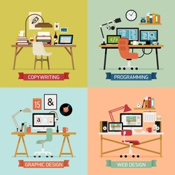 Vector modern creative flat design illustration set on graphic design, programming and developing, copywriting and editing, web design | Different office tables and work spaces