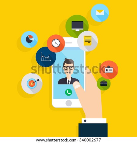 Vector modern creative flat design on hand holding mobile phone with business consultation service.