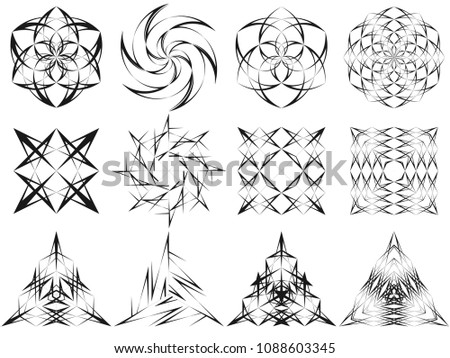 Vector modern design black lines signs and symbols. Abstract geometric circle, square and triangle patterns. #1088603345