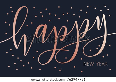 vector modern design happy new year card with brush lettering dark bacground with rose gold