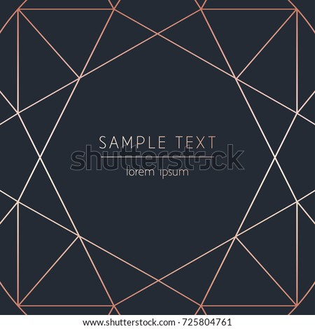 Vector modern design template for wedding, birthday, christmas invitation or advertising. Geometric rose gold pattern