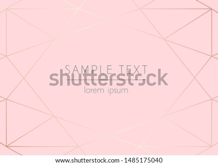 Vector modern design template for wedding or birthday invitation, brochure, poster or business card. Art Deco geometric light rose gold pattern