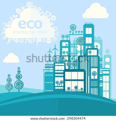 Vector modern eco concept of cartoon eco city