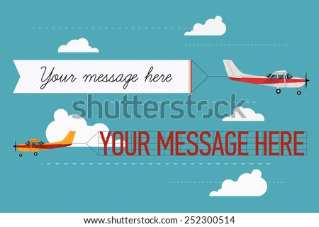 Vector modern flat concept design on flying advertising banners pulled by light plane. Ideal for web banners and printable materials